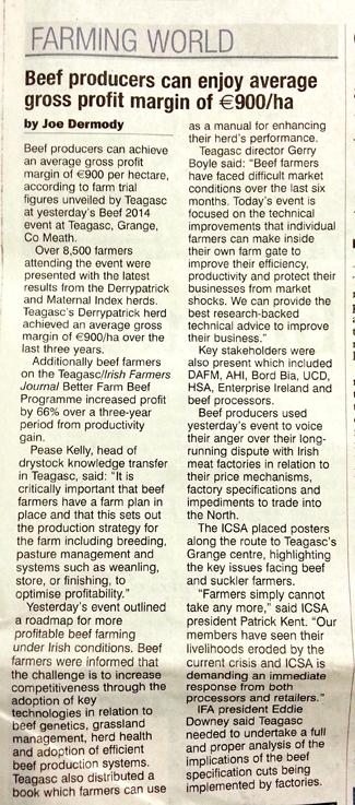 Media: ICSA Beef protest – Irish Examiner 19th June 2014
