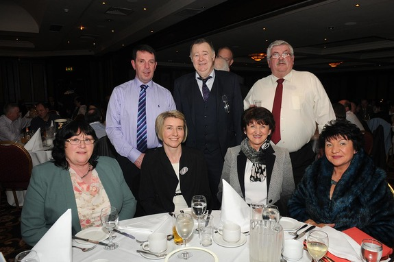 At the ICSA annual dinner dance in the Mount Errigal Hotel, Letterkenny on Friday night were Mary Kelleher, Mabel Thompson, Convoy, Patricia McGlynn, Letterkenny, Helen Browne. At back are Paul McGlynn, Edward Browne and Dermot Kelleher, ICSA Suckler Chairman from Cork.