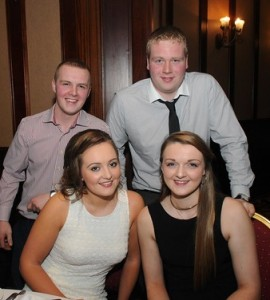 At the ICSA annual dinner dance in the Mount Errigal Hotel, Letterkenny on Friday night were Sarah McBride, Newton and David Speer, Ramelton, Niamh Woods, Raphoe and Stewart Kirk, Letterkenny.