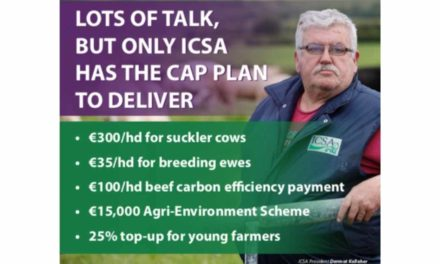 LOTS OF TALK, BUT ONLY ICSA HAS THE CAP PLAN TO DELIVER FOR SUCKLER, SHEEP, BEEF & TILLAGE FARMERS